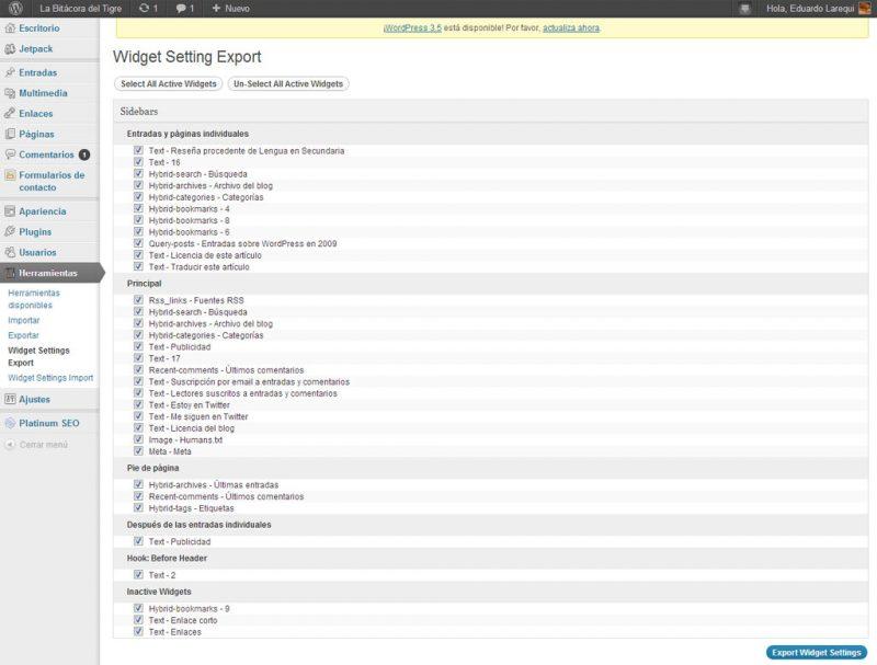 Figura 3. Relación de widgets del sitio web