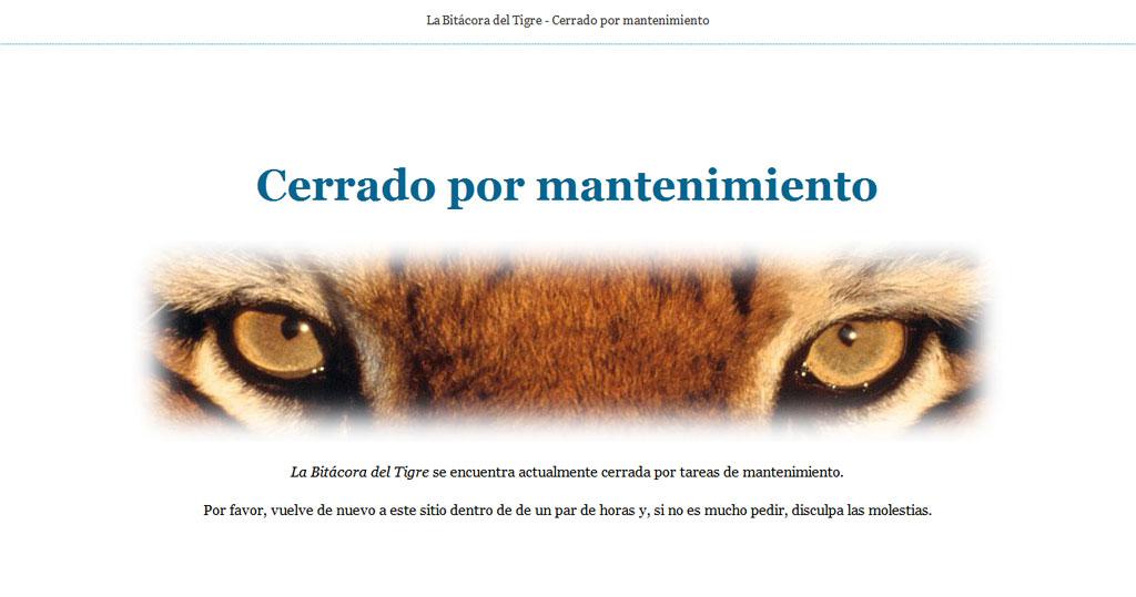 Figura 2. Aviso de mantenimiento de La Bitácora del Tigre
