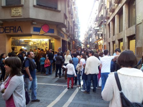 La heladería Larramendi, en el cruce entre las calles San Nicolás y Comedias