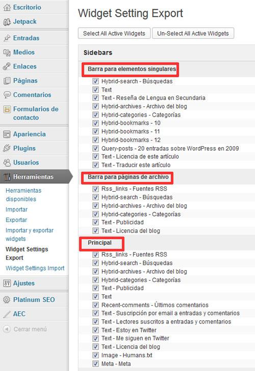 Figura 1. Exportación de widgets, mediante el plugin Widget Settings Importer/Exporter