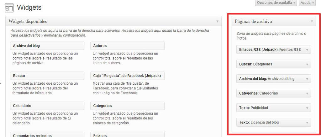 Figura 5 - Widgets del área de widgets para páginas de archivo