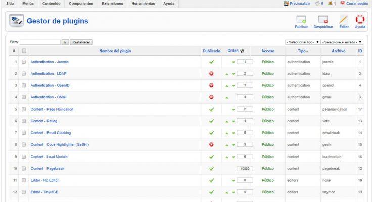 Gestión de plugins en Joomla 1.5