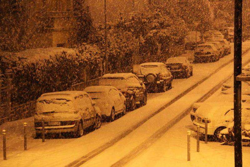 Nieva en la calle Aralar 5