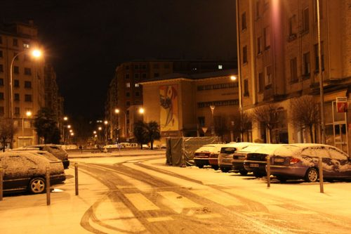 La calle Olite y la plaza Blanca de Navarra