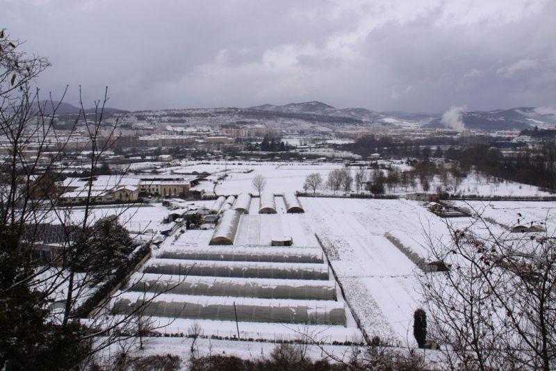 Las huertas de la Magdalena, nevadas, desde el paseo de la Media Luna