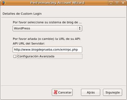 Figura 5: conexión con ScribeFire en Linux (Ubuntu)