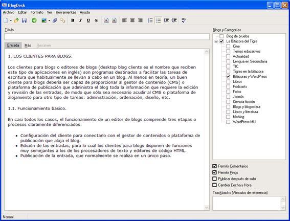Figura 8: interfaz de edición de BlogDesk en la ficha Entrada