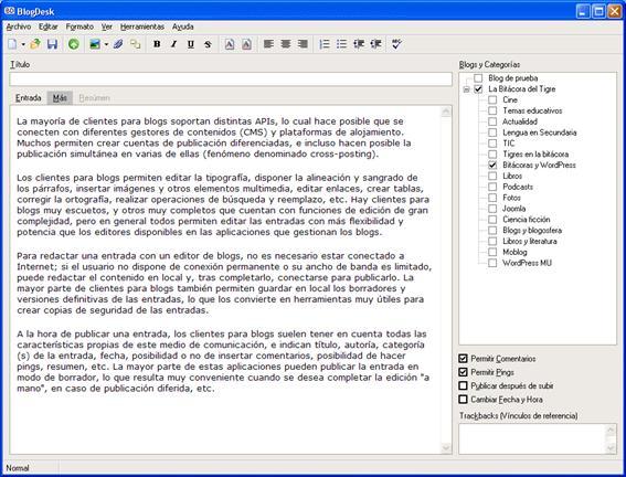 Figura 9: interfaz de edición de BlogDesk en la ficha Más
