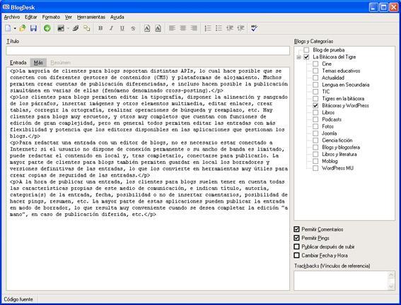 Figura 10: interfaz de edición de BlogDesk en el modo de Código fuente