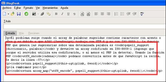Figura 11: edición en modo Código fuente o HTML