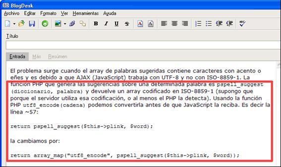 Figura 12: resultado de la edición en modo Código Fuente o HTML