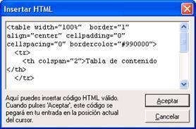 Figura 16: inserción de código HTML