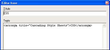 Figura 21: edición de frases frecuentes (código HTML)