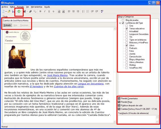 Figura 26: publicación de una entrada en BlogDesk