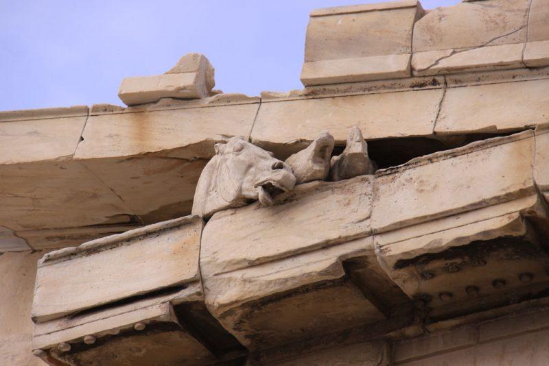 Partenón, Acrópolis de Atenas, detalle del tímpano de la fachada oriental