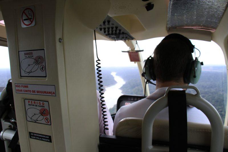 En el interior del helicóptero